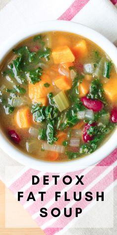Fat Flush Soup, Fat Flush Detox, Detox Vegetable Soup, Vegetable Soup Recipes, Vegetarian Vegetable Soup, Sopa Detox, Detox Soups, Detox Recipes, Vegan Recipes
