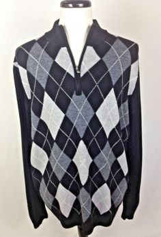 NORDSTROM Sweater XXL Mens Gray MERINO Wool Long Sleeve ARGYLE #Nordstrom #12Zip