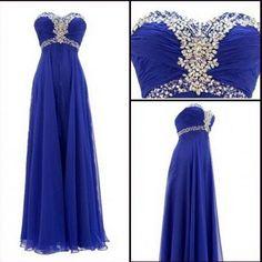 Prom Dress,Sexy Strapless Prom Dress,Royal Blue Prom dresses,Custom Made Prom Dress, Chiffon Prom Dresses,Long Elegant Prom Dresses,2016 Prom Dresses,Prom Dresses