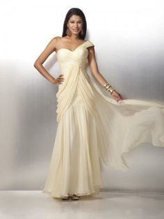 2012 Style A-line One Shoulder Ruffles  Sleeveless Floor-length Chiffon Prom Dresses / Evening Dresses