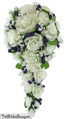 TheBridesBouquet.com - Sweet Purple Silk Rose Cascade - Bridal Wedding Bouquet, $44.99 (http://www.thebridesbouquet.com/sweet-purple-silk-rose-cascade-bridal-wedding-bouquet/)