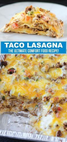 If you are searching for the perfect comfort food recipe, this taco lasagna recipe is for you. This delicious dinner recipe is so easy to make that you can have it prepared and on the table in less than 30 minutes. This creamy, cheesy taco lasagna recipe is an easy weeknight dinner that the whole family will enjoy. You might even want to make a double batch. Leftovers are so delicious.  #dinner #recipe #beef #easy #homemade #taco #lasagna #tacotuesday #tacorecipes