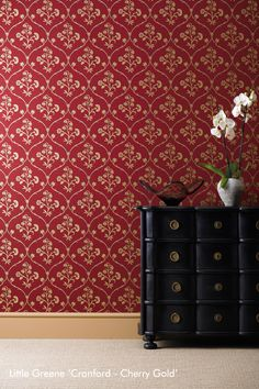 Cranford Wallpaper Red wallpaper with a floral ogee motif in gold metallic with charcoal shade effect. Metallic Wallpaper, Luxury Wallpaper, Red Wallpaper, Modern Wallpaper, Wallpaper Online, Home Wallpaper, Designer Wallpaper, Pattern Wallpaper, Wallpaper Ideas