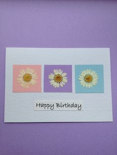 Handmade Pressed Daisies on Pastels Birthday Card £4.00