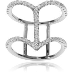 Journee Collection Sterling Silver Cubic Zirconia Chevron Double Band... ($41) ❤ liked on Polyvore featuring jewelry, rings, silver, white ring, round cut rings, pave cubic zirconia ring, fine jewelry and wide sterling silver rings