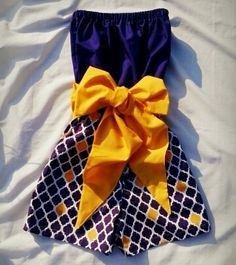 Ladies LSU Quatrefoil Game Day Romper sample by Monogrambymelissa, $40.00