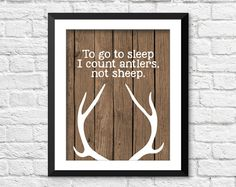 To go to sleep, I count antlers not sheep, Wood Deer Antlers Silhouette Prints,  Deer Antler Prints,