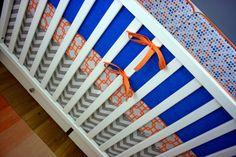Blue, Orange and Gray Baby Boy Nursery Bedding, Indigo Dreams   Modified Tot