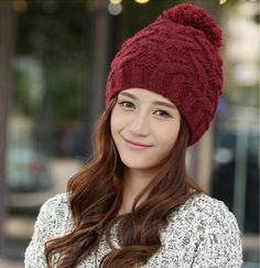 Hairball cable knit beanie hat for women winter wear
