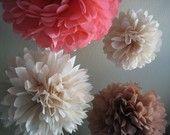 Girl Baby Shower - 5 Tissue Paper Pom Pom Flower DIY Decor Kit - Frilly Paper Flowers