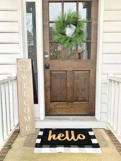 Family Name Front Porch Sign Farmhouse Front Porches, Small Front Porches, Farmhouse Signs, Farmhouse Decor, Front Porch Signs, Front Door Decor, Front Door Plants, Front Deck, Porch Windows