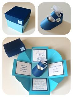 It's a boy! The exploding box favour created in different shades of blue! The perfect way to say congrats to the new parents instead of a regular card! ❤ www.cutncreate.com http://facebook.com/CutnCreate