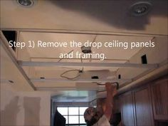 What to do with your old outdated kitchen drop ceiling and lights? - YouTube