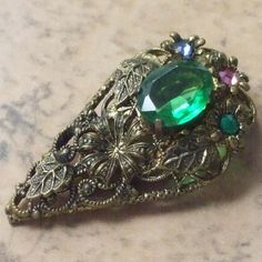 1930s Bohemian rhinestone dress clip | vintage jewellery | Jewels & Finery UK