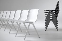 A sleek, modern design, the A-Chair appears to be made of one singular piece of material.  Having said that, this chair is much more than just a pretty piece of furniture.  Stackable in piles up to fifteen chairs high, the A-Chair can easily be stored in a space-efficient manner.