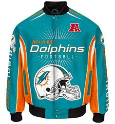 """Miami Dolphins Men's NFL G-III """"Burst"""" Premium Twill Jacket  https://allstarsportsfan.com/product/miami-dolphins-mens-nfl-g-iii-burst-premium-twill-jacket/  Diamond quilted lining Embroidered graphics Button snap closure"""