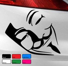 Vendetta Anonymous Mask Vinyl Decal Sticker Car Van Bike PC Laptop Funny Window