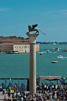 The winged lion of Venice, Piazzetta San Marco, Venice, Italy