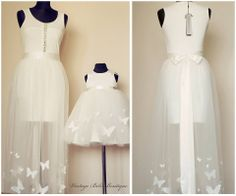 Christening dress for mother and daughter, my dream / white dress with butterflies