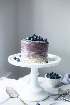 Vegan Vanilla Mini Cake w/ Blueberry Lavender Cashew Frosting by The Green Life