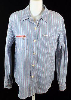 Ralph Lauren Jeans Co Blue Red White Long Sleeve Striped Shirt Women Size Medium