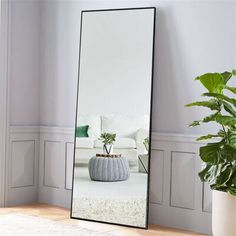 diy Home Decor mirror - NeuType Black Aluminum Alloy Thin Frame Full Length Floor Mirror Standing Hanging or Leaning Against Wall - The Home Depot Ästhetisches Design, Stand Design, Full Length Floor Mirror, Full Length Mirror In Bedroom, Black Floor Mirror, Floor Mirrors, Wall Mirrors, Bedroom Mirrors, Long Mirror