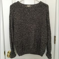 Marled Style Thick Knit Sweater A mix of beige and black threaded thick knit sweater. Like new, no defects! Forever 21 Sweaters Cowl & Turtlenecks