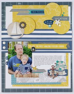 "Mix and Match collection from #CartaBellaPaper, like the ""Yacht Club"" collection and #EchoParkPaper to create the perfect layout like this one by Anya Lunchenko!"