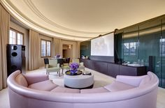 This ultimate rock 'n' roll suite, designed by David Chipperfield, is housed under the copper dome of the Café Royal, a landmark on Lower Regent Street. The round living room features a curved sofa from which to view the cinema-style screen, a DJ booth with concert speakers, and a dazzling LED light show superimposed on the dome. Floors are fumed English oak, and the master bath centers on a massive Ming-green marble tub. From $20,000/night; hotelcaferoyal.com