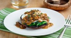 Roasted Portobello Mushrooms with Poached Eggs in a Creamy Mushroom ...