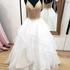 Charming Spaghetti Straps White and Gold Prom Dresses A-Line Lace Appliques Junior Formal Dresses Ruffled Skirt Cheap Evening Dresses Junior Formal Dresses, Cute Prom Dresses, Cheap Evening Dresses, Elegant Dresses, Day Dresses, Wedding Dresses, Dress Formal, Prom Gowns, Occasion Dresses