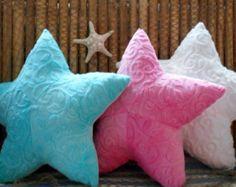 Starfish pillownautical pillowwhite minky by Fleeceofnature