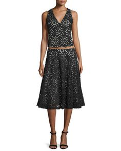 Floral+Lyla+V-Neck+Top+&+Viviana+A-Line+Skirt,+Black+by+Alice+++Olivia+at+Neiman+Marcus.