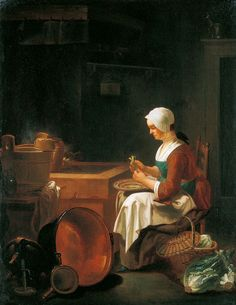 The maid in the kitchen_Justus Juncker(1703-1767)  Note: Basket with lid, ladder back chari, copper pot, wooden bucket, copper dipper, single handled pouring pot, candlestick, plate