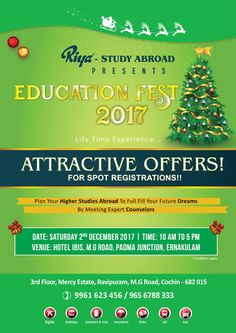 Riya Study Abroad presents EDUCATION FEST 2017!!! Plan your higher studies abroad to full fill your future dreams by meeting our expert counselors.  Visit our website http://www.riyaeducation.com/