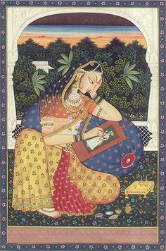"""""""Miniature paintings, you are not just tacky things Indian restaurants put up on their walls. You are beautiful, detailed, erotic, quirky, diverse and other adjectives I cannot recall right now.""""   http://vintageindianclothing.tumblr.com/post/88365009793/tumblr-informed-me-the-blog-is-now-2-years-old"""