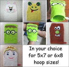 """In the Hoop """"Wash Mittens"""" Help make washing up a fun activity with these 4 adorable characters! This fun #machineembroidery project set, includes a cat, frog and more! Great for kids! Clean up with a set of your own today!"""