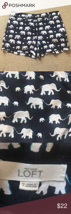 LOFT Elephant print shorts - size 2 LOFT Elephant print shorts - size 2  - lightly worn - loose fit LOFT Shorts Bermudas