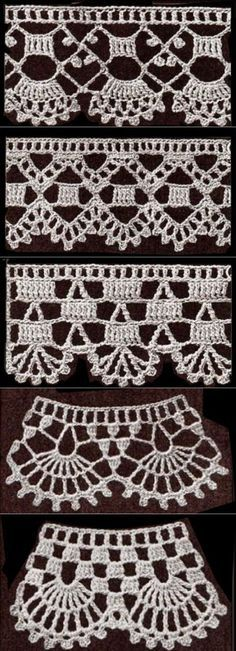 If you looking for a great border for either your crochet or knitting project, check this interesting pattern out. When you see the tutorial you will see that you will use both the knitting needle and crochet hook to work on the the wavy border. Crochet Edging Patterns, Crochet Lace Edging, Crochet Borders, Lace Patterns, Love Crochet, Diy Crochet, Crochet Designs, Crochet Crafts, Crochet Doilies