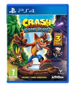 Available at Amazon - Crash Bandicoot N Sane Trilogy for PS4 - https://www.amazon.co.uk/Crash-Bandicoot-Sane-Trilogy-PS4/dp/B01GVS0DXS/ref=as_li_ss_tl?s=videogames&ie=UTF8&qid=1499609454&sr=1-1&keywords=crash+bandicoot+PS4&linkCode=ll1&tag=ftrgaming1707-21&linkId=9a7aaf0e12158e09005fcc0f572b2562  Note - This is an Amazon affiliate post