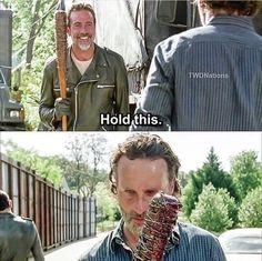 'The Walking Dead' Season 7, Episode 4, 'Service' - Friends sharing? No, Negan just wants Rick to remember what Lucille did to Glenn and Abraham. To remember, so it doesn't happen in Alexandria. So Rick must convince everyone  to comply to Negan's demands.