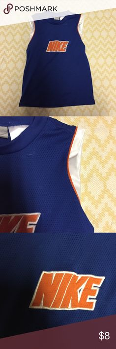 Nike mesh jersey In excellent condition no visible flaws, tears, or pills. Size small (8) blue, white, and orange colors. Nike Shirts & Tops Tank Tops
