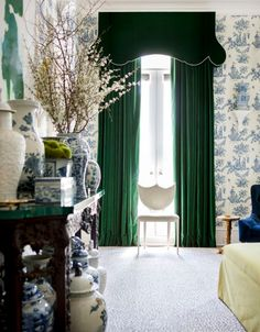 Melanie Turner - Atlanta Homes & LifestylesEmerald green curtains are not just for the holidays; they are a gorgeous choice all year long. I have emerald green silk curtains in my own dining room. Green Curtains, Velvet Curtains, Silk Curtains, H Design, House Design, Blue And White Wallpaper, Enchanted Home, Chinoiserie Chic, Chinoiserie Wallpaper