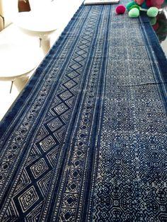 Batik cotton fabrics,  Indigo Blue, Hmong textiles Table runner- from Thailand