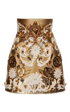 Embroidered Metallic Leather High Waist Skirt by Dolce & Gabbana for Preorder on Moda Operandi