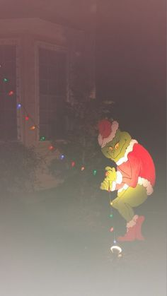 Grinch yard decorations pulling down our Christmas lights. He's 6 ...