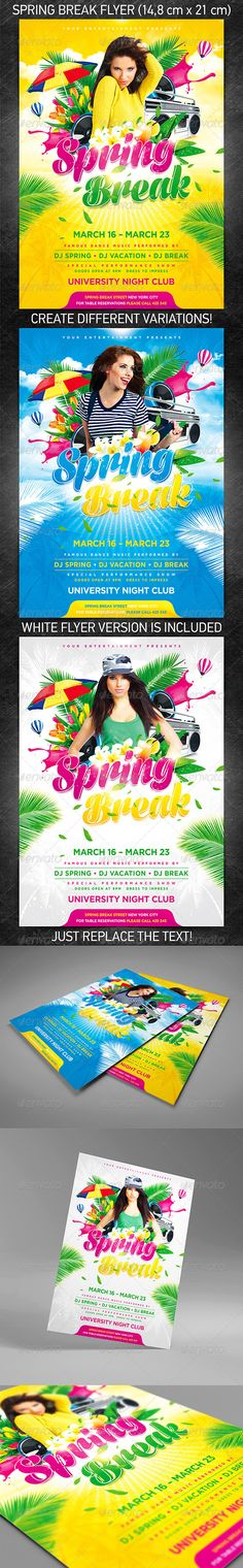 """""""Spring break party flyer"""" for announcement of your action devoted to celebrating of Spring break/Easter celebration/Summer vacation party flyer or for any other party in your club/bar.  You can download and learn more about this PSD template at the following link – http://graphicriver.net/item/spring-break-party-flyer/3902915?ref=4ustudio   More flyers and posters here: http://graphicriver.net/user/4ustudio?ref=4ustudio   I think, it is pleasant to you!"""