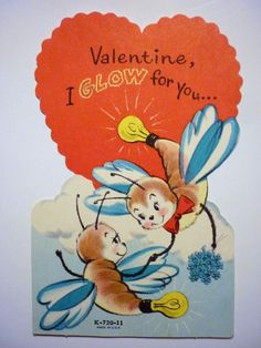 unused vintage valentine 039 s day card anthropomorphic fireflies glow bugs - Valentine039s Day Greeting Cards