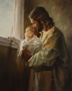 Such a beautiful image, painted by Harry Anderson and called Jesus with Child. It helps remind us that Jesus truly is with our children, loving them!