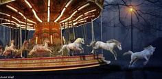 horses jumping off carousel